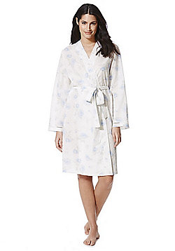 F&F Dobby Floral Print Dressing Gown - White & Blue