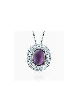 REAL Effect Rhodium Plated Sterling Silver Purple Cubic Zirconia Large Sapphire Centre Cluster Pendant - 16/18 inch