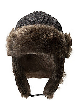 Mountain Warehouse Cable Knitted Mens Deer Stalker Hat - Brown