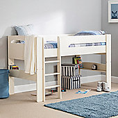 Happy Beds Pluto Wood Kids Midsleeper Bed with Open Coil Spring Mattress - White - 3ft Single - White