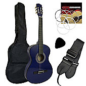 Tiger 4/4 Size Blue Classical Guitar Beginners Complete Starter Kit