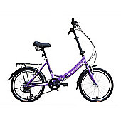 "Tiger Foldaway Unisex 20"" Wheel 6 Speed Folding Bike Lilac"