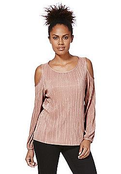 F&F Plissé Pleat Cold Shoulder Blouse - Rose pink