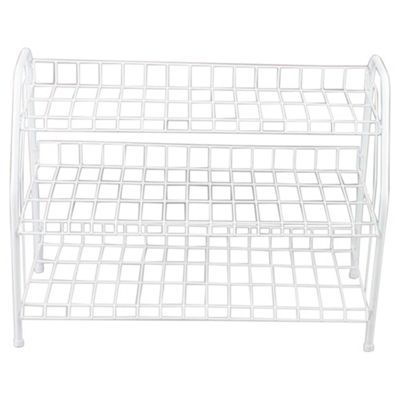 White 3 Tier Metal Shoe Rack