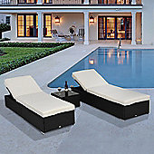 Outsunny 3PC Rattan Sun Lounger Garden Wicker Recliner Bed Side Table Set - Dark Coffee