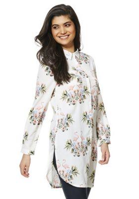 Mela London Flamingo Print Long Line Shirt White Multi 8