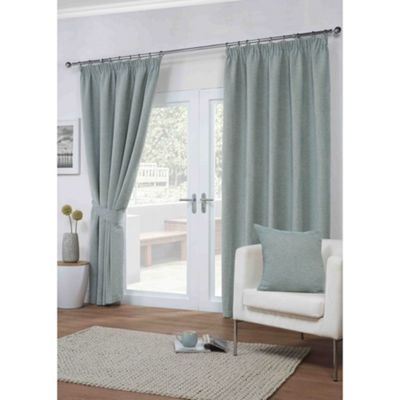 Dover Duck Egg Pencil Pleat Curtains - 46x54 Inches (117x137cm)