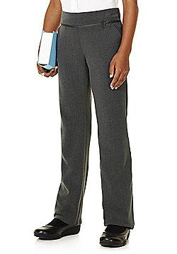 F&F School Girls Grosgrain Bow Trousers - Grey