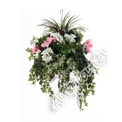 "Closer to Nature Artificial Pink Pansy, White Geranium and Mixed Ivy Display in a 14"" Round Willow Hanging Basket"