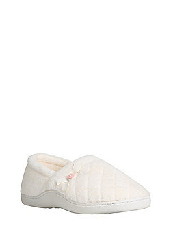 F&F Cosy Closed Back Slippers - Cream