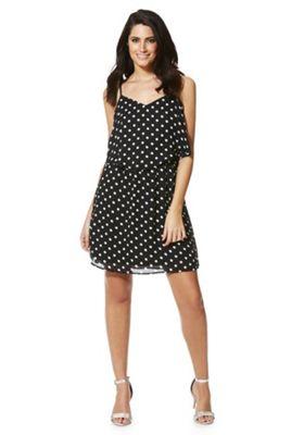 Only Polka Dot Slip Dress XS Black