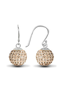 Jewelco London Sterling Silver Crystal 12mm Disco Dazzle Ball Drops Shamballa Earrings - champagne