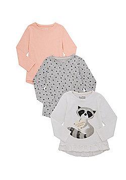 F&F 3 Pack of Raccoon Print Long Sleeve T-Shirts - Multi