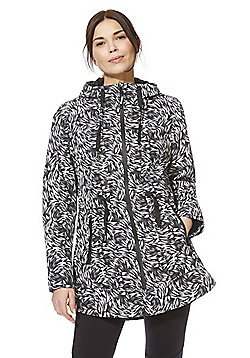 F&F Active Brush Print Hooded Walking Jacket - Black