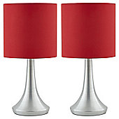 Tesco 2 Touch Lamps Red