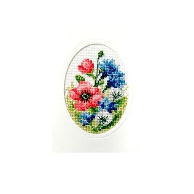 Orchidea Poppies Cross Stitch Card