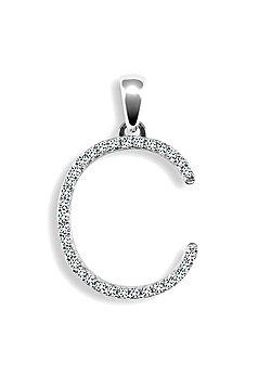 9ct White Gold Diamond Initial Identity Pendant - Letter C