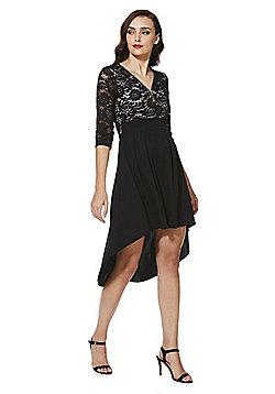 Mela London Tassel Zip Lace High-Low Dress - Black