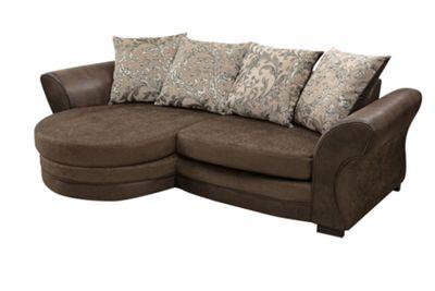 Aris Corner Sofa Chenille Fabric Leather Brown
