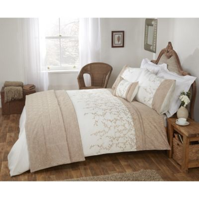 Cascade Home Maple Embroidered Leaves Duvet Cover Set - Double