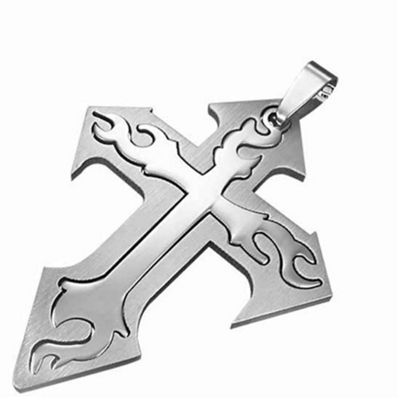Urban Male Stainless Steel Two Part Flame Cross For Men