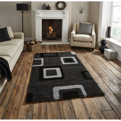 Majesty Black & Grey Retro Squares Rug - 160x220cm
