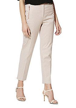 F&F Jacquard Ankle Grazer Mid Rise Slim Leg Trousers - Blush pink
