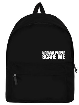 Normal People Scare Me Black Backpack