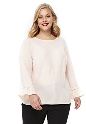 Evans Faux Pearl Bell Sleeve Plus Size Top Blush Pink 26