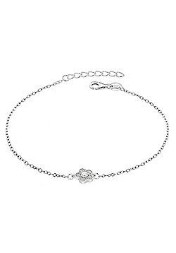 "Sterling Silver Rhodium Plated CZ Flower Bracelet 19cm/7.5"""