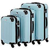 VonHaus 3pc Hard Shell ABS Trolley Suitcase Luggage Set with 4 Rotating Wheels, Combination Lock & Telescopic Handle – Duck Egg Blue