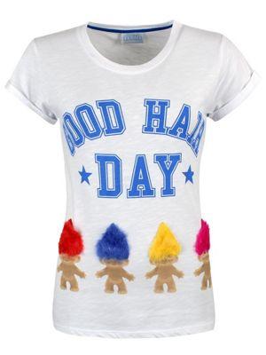 Trolls Good Hair Day Rolled Sleeve Burnout White Women's T-shirt