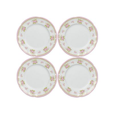 Set of 4 Vintage Rose Fine Bone China Tea Plates