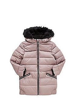 F&F Long Line Padded Jacket - Pink