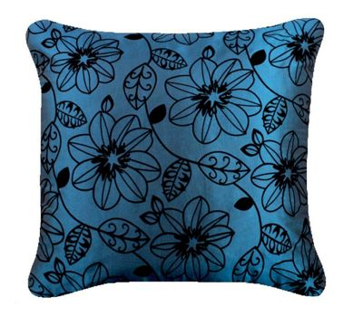 Petrol Blue Cushion with Black Floral Design Any Room Decor