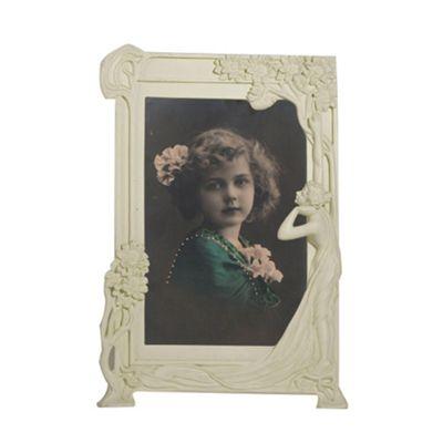 Art Nouveau White Clay Paint Photo Frame Width: 27cm