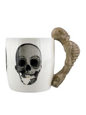 Ceramic Skeleton Shaped Handle 10oz Ceramic Mug