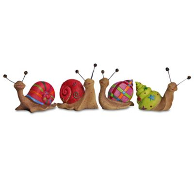 Set of Four Brightly Coloured Resin Snail Garden Ornaments