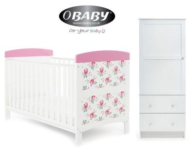 Obaby Grace Inspire Cotbed and Wardrobe Set - Cottage Rose