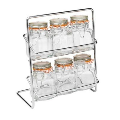 Hahn Pisa Spice Rack with 6 Kilner Jars and 40 Spice Labels
