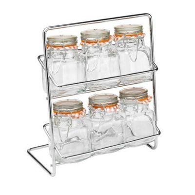 Hahn Pisa Spice Rack with 6 Kilner Jars and 40 Spice Labels