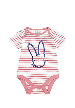 F&F Bunny Striped Short Sleeve Bodysuit - Multi