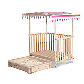 Homcom Kids Sandbox Pit Canopy Play Station Playhouse Veranda Wood (Red)