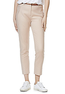 F&F Ankle Grazer Mid Rise Slim Leg Trousers with Belt - Blush pink
