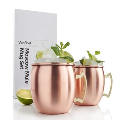 VonShef Set of 2 Copper Moscow Mule Mugs
