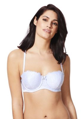 F&F Signature Elise Bow Charm Lace Balcony Bra Ice Blue 38 B cup