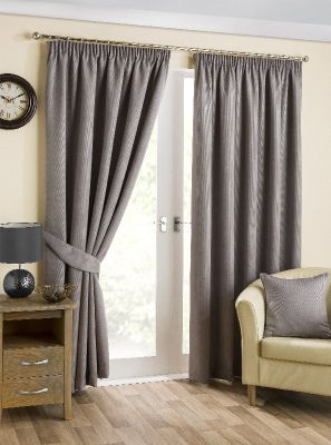 Hamilton McBride Belvedere Lined Pencil Pleat Pewter Curtains - 46x54 Inches (117x137cm)