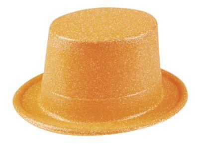 Adults 80's Glitter Neon Plastic Top Hat Fancy Dress Accessory-Orange