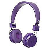 KitSound Manhattan Wireless Bluetooth Over-Ear Headphones with Mic - Purple