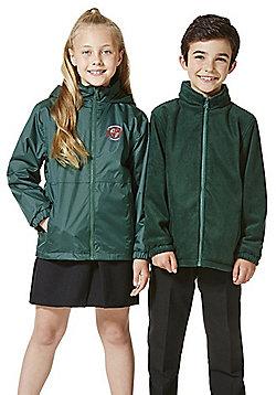 Unisex Embroidered Reversible School Fleece Jacket - Green